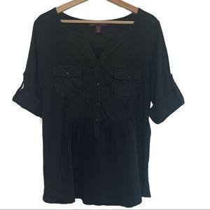 Gloria Vanderbilt Cargo Pocket Top in Black